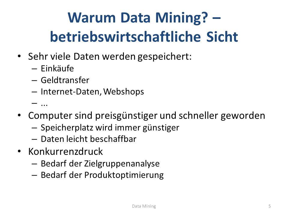 Klassifikation Data Mining36 Trainingsmenge Tupelmenge Modell: Entscheidungsbaum Anwenden des Modells Induktion des Entscheidungsbaums Lern-Algorithmus, z.B.