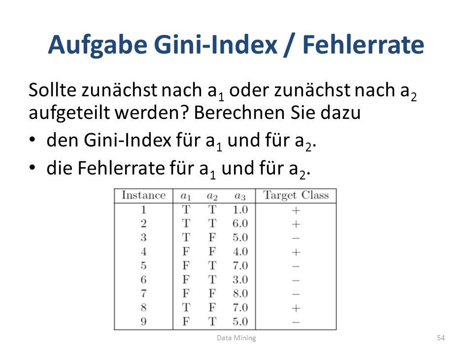 Aufgabe Gini-Index / Fehlerrate Sollte zunächst nach a 1 oder zunächst nach a 2 aufgeteilt werden? Berechnen Sie dazu den Gini-Index für a 1 und für a