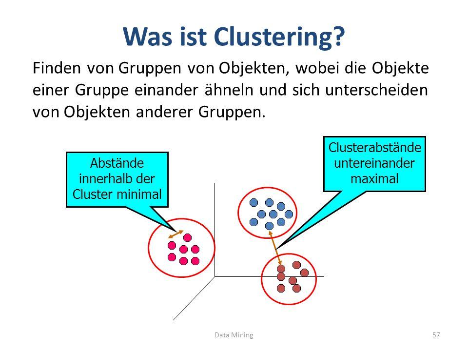 Was ist Clustering? Data Mining57 Clusterabstände untereinander maximal Abstände innerhalb der Cluster minimal Finden von Gruppen von Objekten, wobei