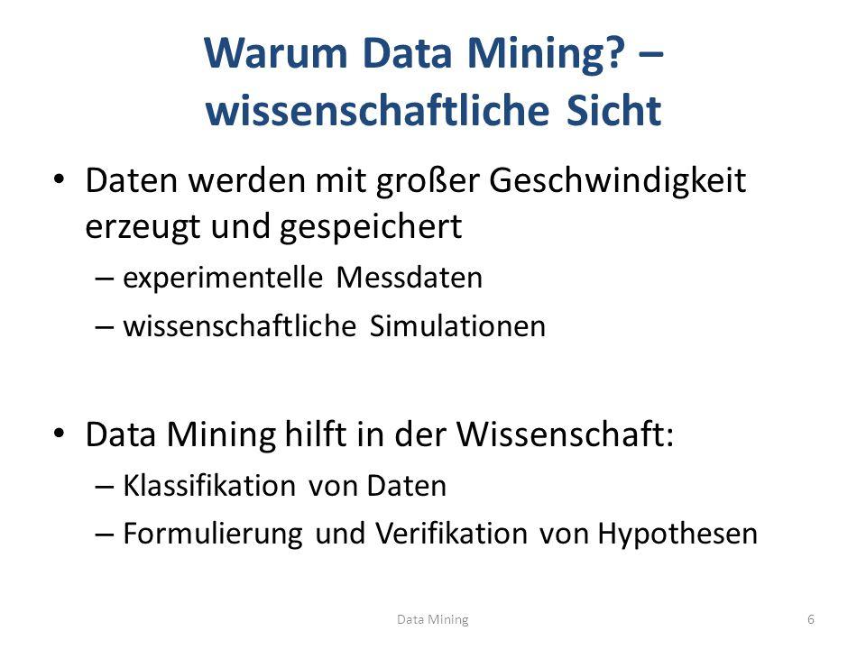 Data Mining27 Erhöhung der Konfidenz Vergrößern der linken Seite (dadurch Verkleinern der rechten Seite) führt zur Erhöhung der Konfidenz – Formal: L  L +, R -  R – Konfidenz (L  R) <= C(L +  R - ) Beispiel-Regel: {Drucker}  {Papier, Toner} – Konfidenz = S({Drucker, Papier, Toner}) / S({Drucker}) = (3/5) / (4/5) = ¾ = 75% Beispiel-Regel: {Drucker,Papier}  {Toner} – Konfidenz = S({Drucker, Papier, Toner}) / S({Drucker,Papier}) = (3/5) / (3/5) = 1 = 100%