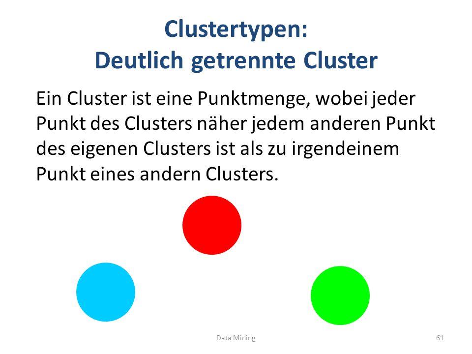 Clustertypen: Deutlich getrennte Cluster Ein Cluster ist eine Punktmenge, wobei jeder Punkt des Clusters näher jedem anderen Punkt des eigenen Clusters ist als zu irgendeinem Punkt eines andern Clusters.
