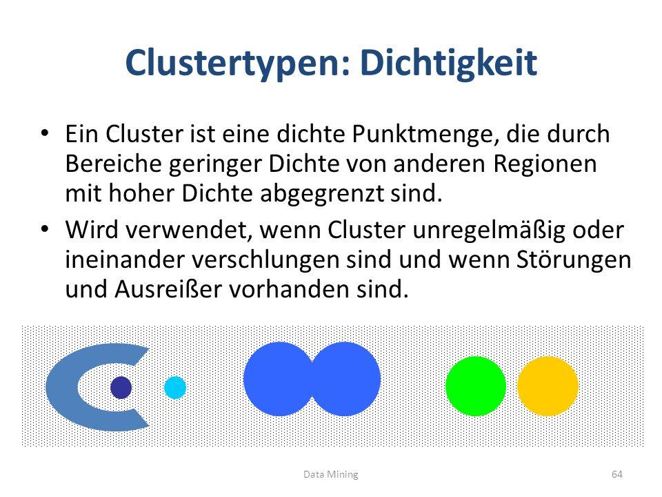 Clustertypen: Dichtigkeit Ein Cluster ist eine dichte Punktmenge, die durch Bereiche geringer Dichte von anderen Regionen mit hoher Dichte abgegrenzt sind.