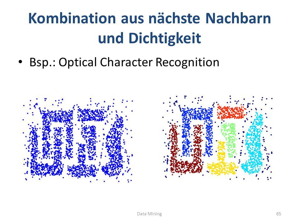 Kombination aus nächste Nachbarn und Dichtigkeit Bsp.: Optical Character Recognition Data Mining65
