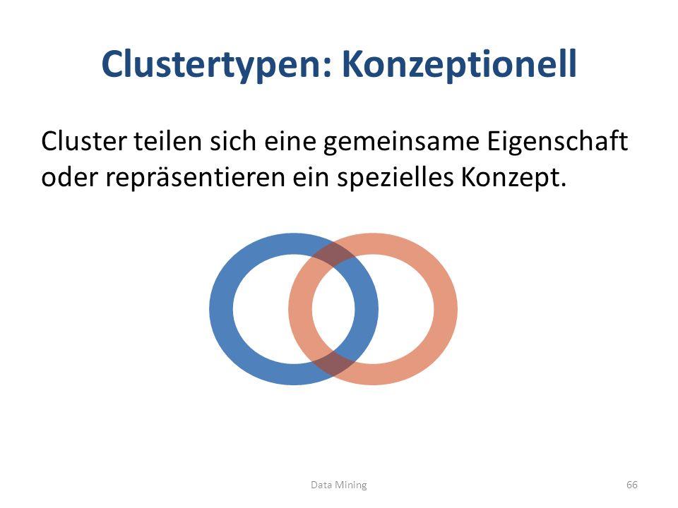 Clustertypen: Konzeptionell Cluster teilen sich eine gemeinsame Eigenschaft oder repräsentieren ein spezielles Konzept.