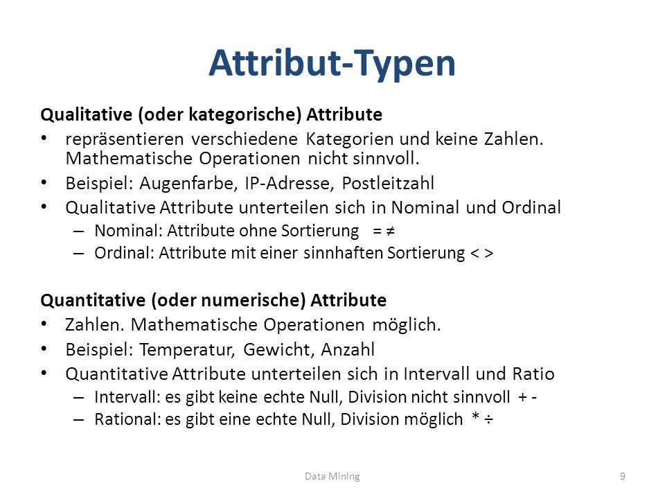 diskrete / kontinuierliche Attribute Diskrete Attribute Anzahl der Werte endlich oder abzählbar unendlich häufig Integer als Datentyp z.B.