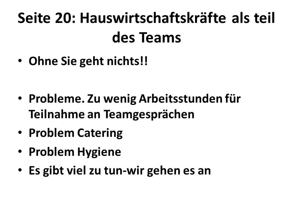 Seite 20: Hauswirtschaftskräfte als teil des Teams Ohne Sie geht nichts!.