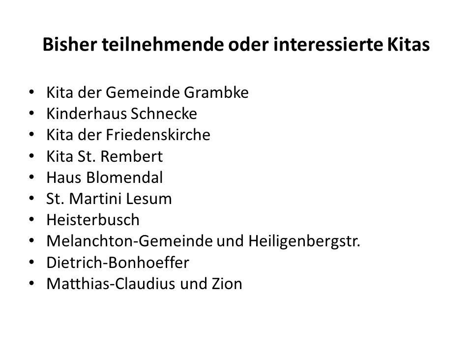 Bisher teilnehmende oder interessierte Kitas Kita der Gemeinde Grambke Kinderhaus Schnecke Kita der Friedenskirche Kita St.