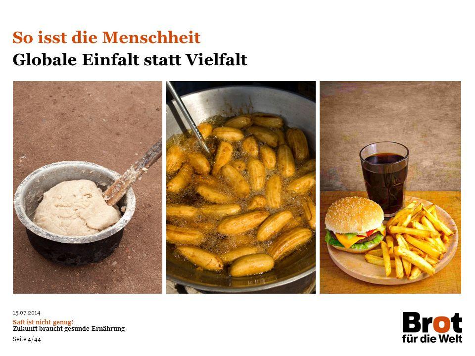 Globale Einfalt statt Vielfalt Unsere Mahlzeiten werden immer einfältiger.
