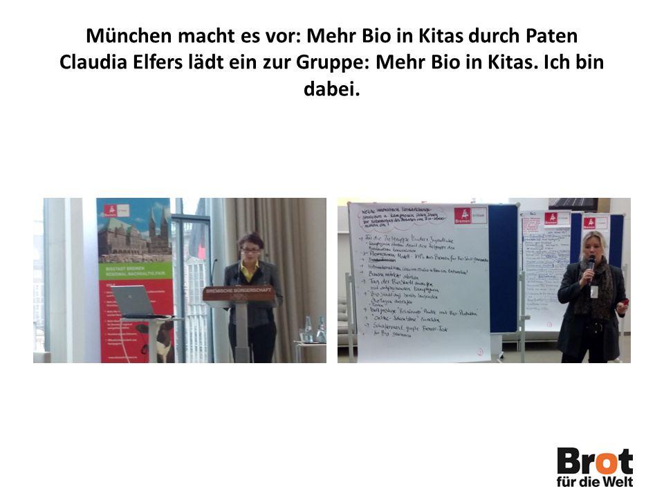 München macht es vor: Mehr Bio in Kitas durch Paten Claudia Elfers lädt ein zur Gruppe: Mehr Bio in Kitas.