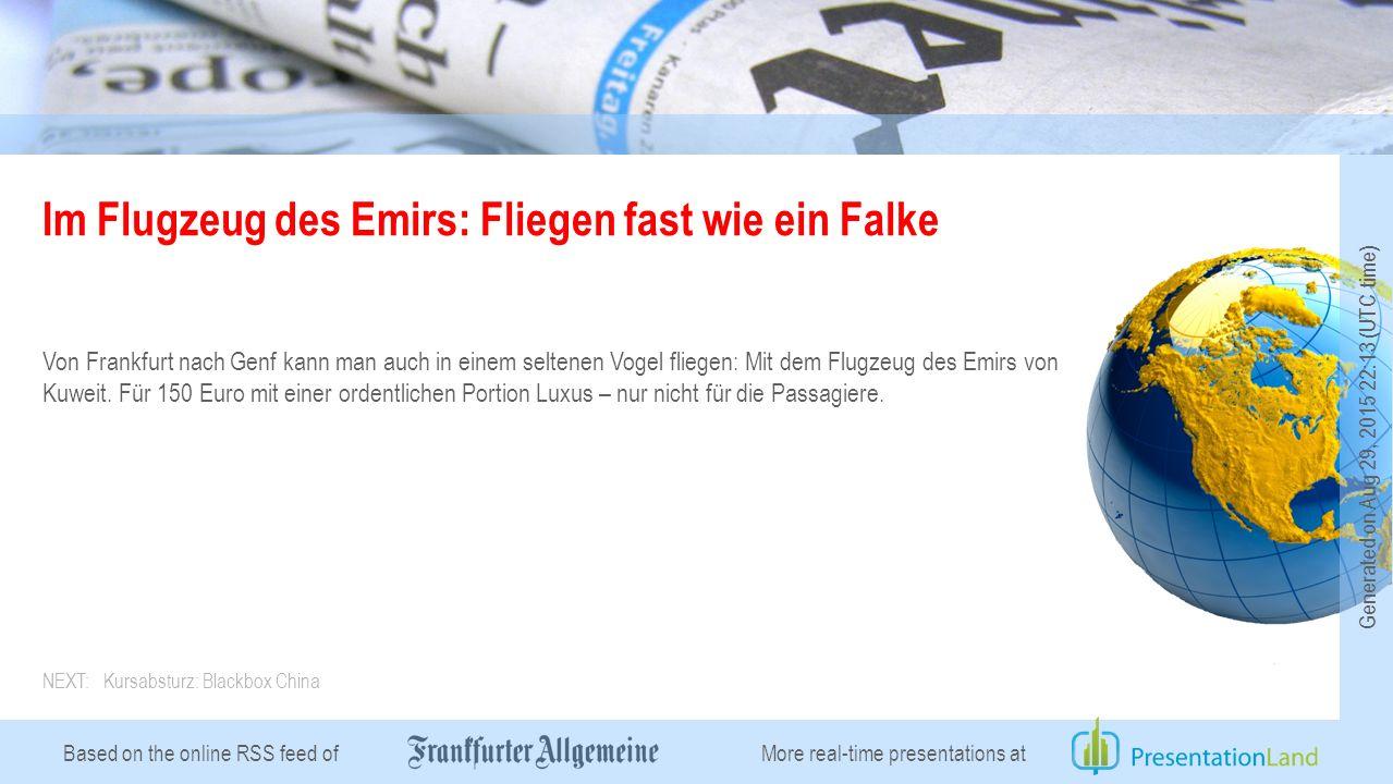 Based on the online RSS feed of Im Flugzeug des Emirs: Fliegen fast wie ein Falke Von Frankfurt nach Genf kann man auch in einem seltenen Vogel fliegen: Mit dem Flugzeug des Emirs von Kuweit.