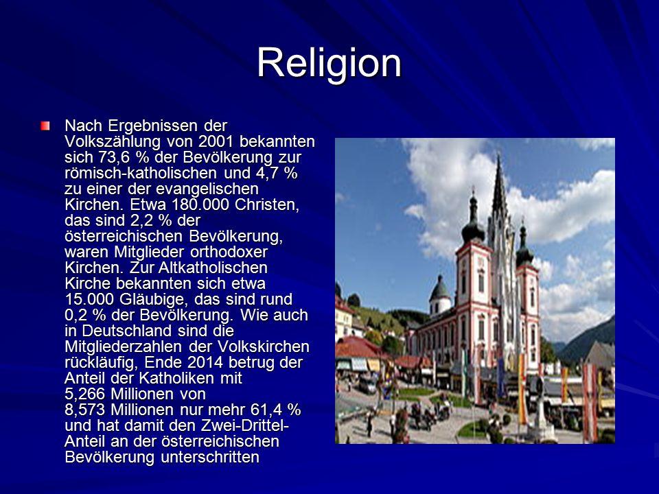 Religion Nach Ergebnissen der Volkszählung von 2001 bekannten sich 73,6 % der Bevölkerung zur römisch-katholischen und 4,7 % zu einer der evangelischen Kirchen.