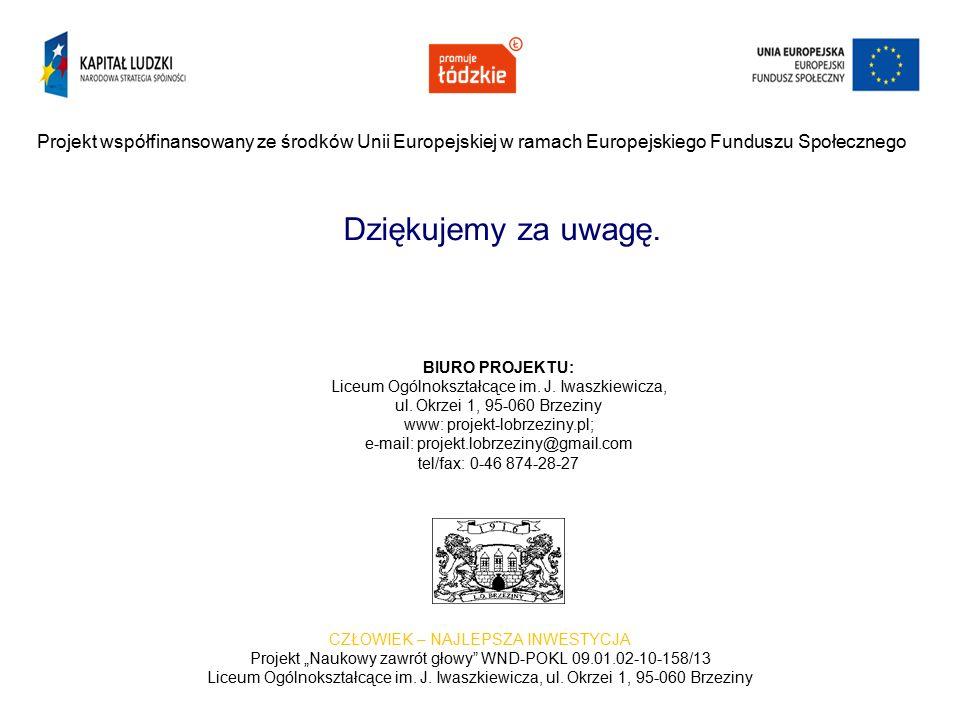 """CZŁOWIEK – NAJLEPSZA INWESTYCJA Projekt """"Naukowy zawrót głowy WND-POKL 09.01.02-10-158/13 Liceum Ogólnokształcące im."""