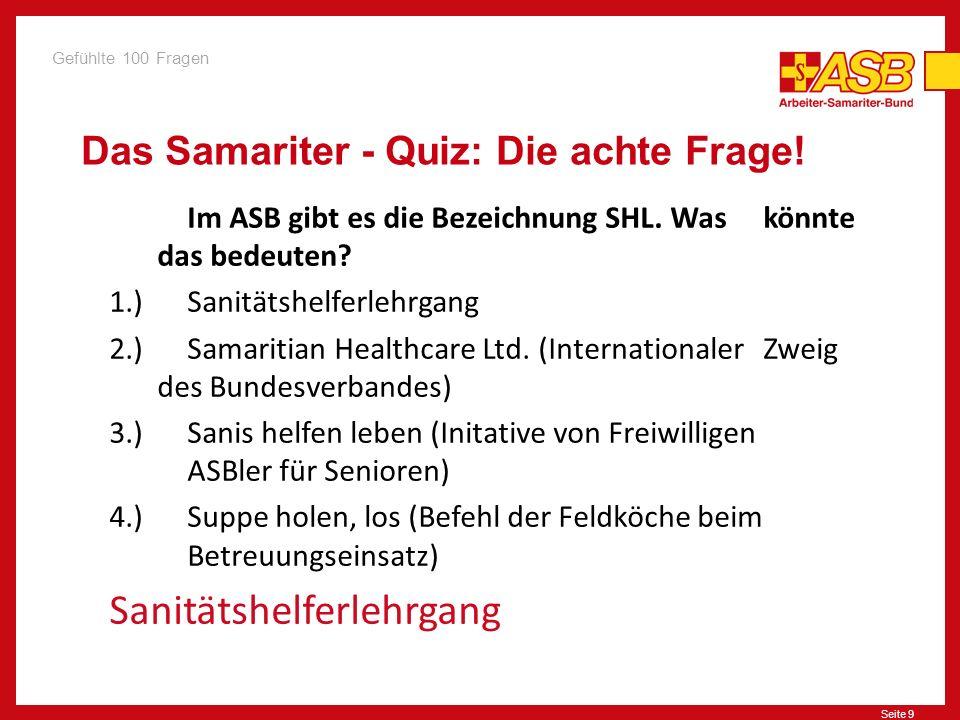 Seite 10 Das Samariter - Quiz: Die neunte Frage.