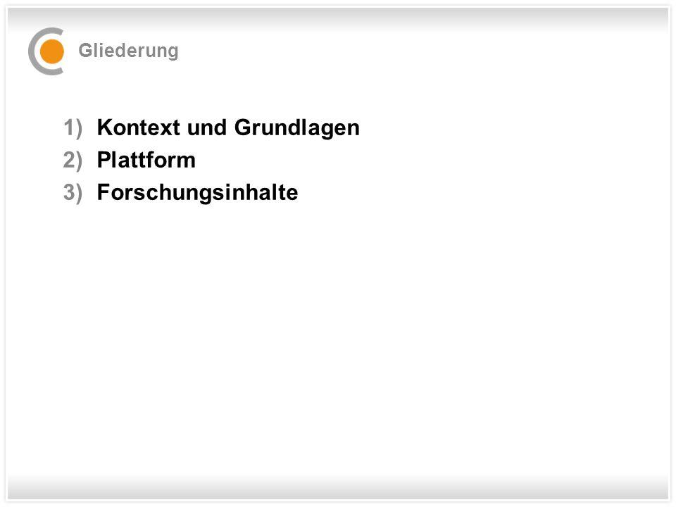 Gliederung 1)Kontext und Grundlagen 2)Plattform 3)Forschungsinhalte