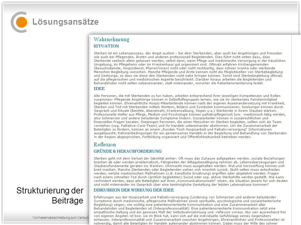 Vorhabensbeschreibung zum Verbundprojekt PATONGO Lösungsansätze Strukturierung der Beiträge