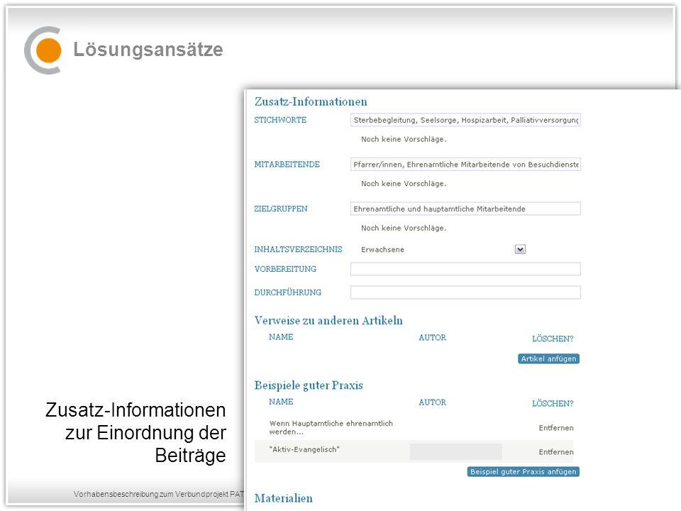 Vorhabensbeschreibung zum Verbundprojekt PATONGO Lösungsansätze Zusatz-Informationen zur Einordnung der Beiträge