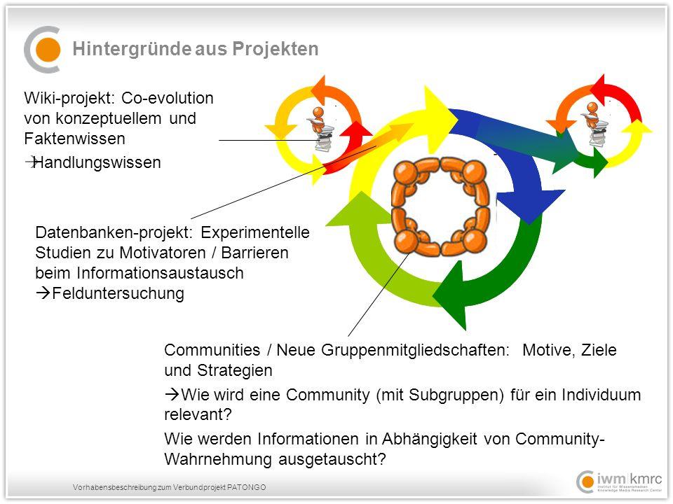 Vorhabensbeschreibung zum Verbundprojekt PATONGO Wiki-projekt: Co-evolution von konzeptuellem und Faktenwissen  Handlungswissen Hintergründe aus Projekten Communities / Neue Gruppenmitgliedschaften: Motive, Ziele und Strategien  Wie wird eine Community (mit Subgruppen) für ein Individuum relevant.