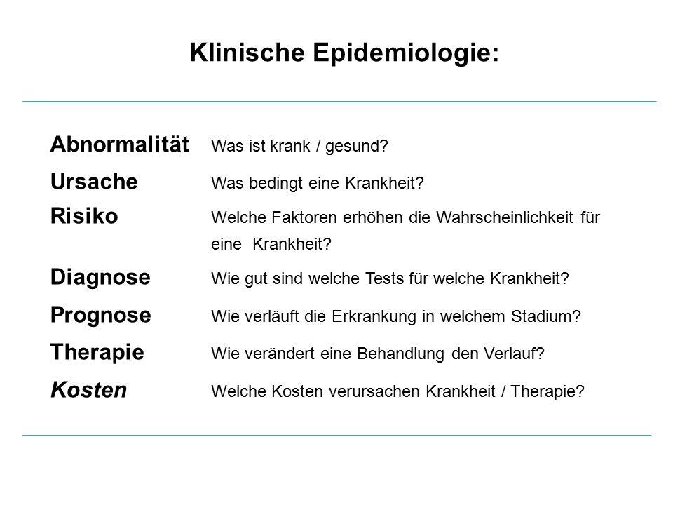 Klinische Epidemiologie: Abnormalität Was ist krank / gesund.