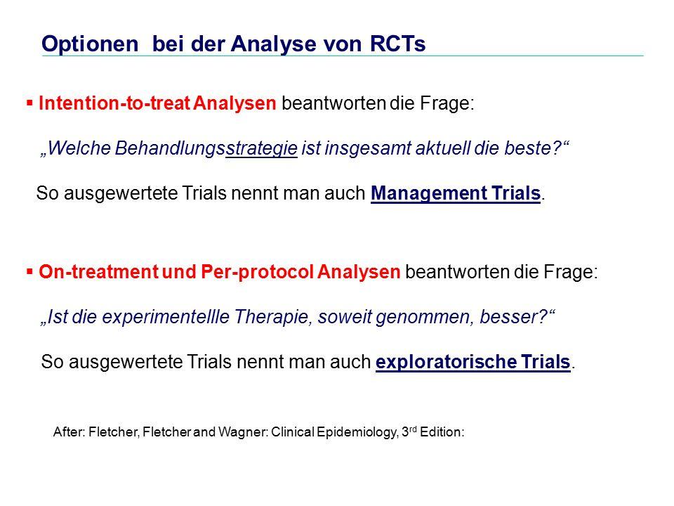 """Optionen bei der Analyse von RCTs  Intention-to-treat Analysen beantworten die Frage: """"Welche Behandlungsstrategie ist insgesamt aktuell die beste? So ausgewertete Trials nennt man auch Management Trials."""