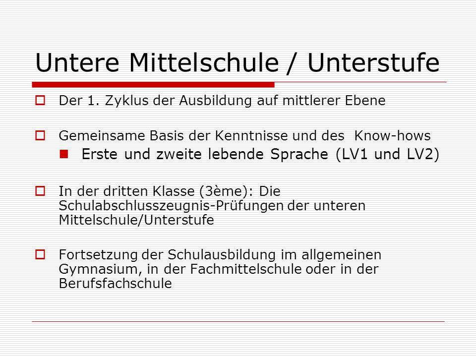 Untere Mittelschule / Unterstufe  Der 1. Zyklus der Ausbildung auf mittlerer Ebene  Gemeinsame Basis der Kenntnisse und des Know-hows Erste und zwei