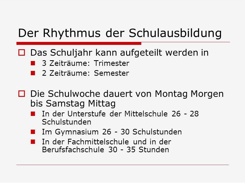 Der Rhythmus der Schulausbildung  Das Schuljahr kann aufgeteilt werden in 3 Zeiträume: Trimester 2 Zeiträume: Semester  Die Schulwoche dauert von Mo