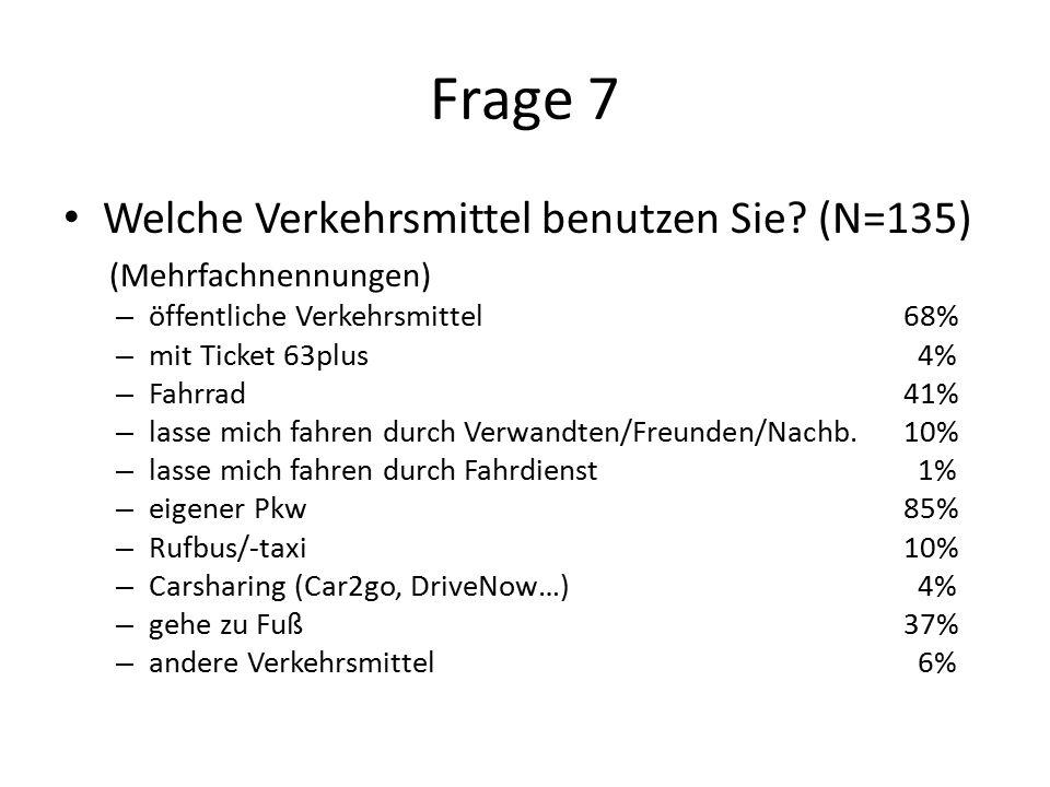 Frage 7 Welche Verkehrsmittel benutzen Sie.
