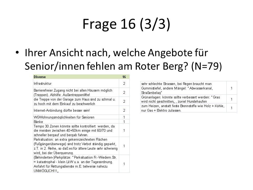 Frage 16 (3/3) Ihrer Ansicht nach, welche Angebote für Senior/innen fehlen am Roter Berg (N=79 )