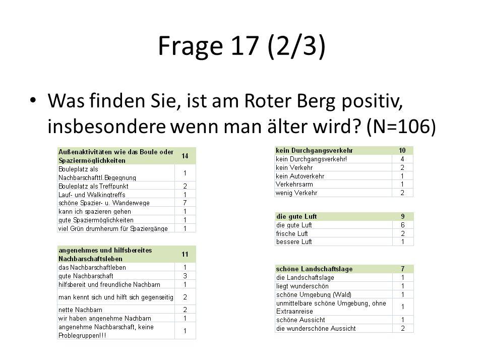 Frage 17 (2/3) Was finden Sie, ist am Roter Berg positiv, insbesondere wenn man älter wird.