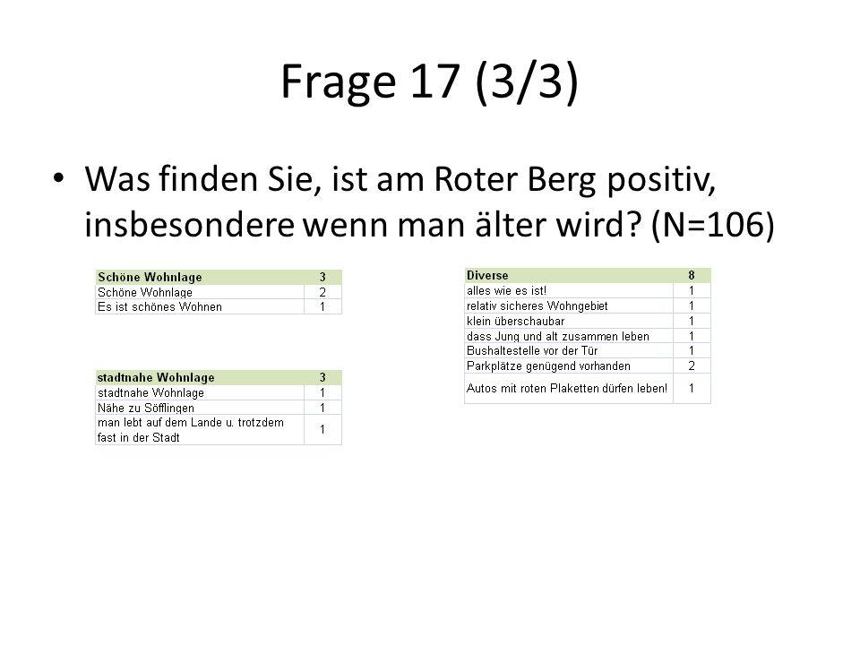 Frage 17 (3/3) Was finden Sie, ist am Roter Berg positiv, insbesondere wenn man älter wird.