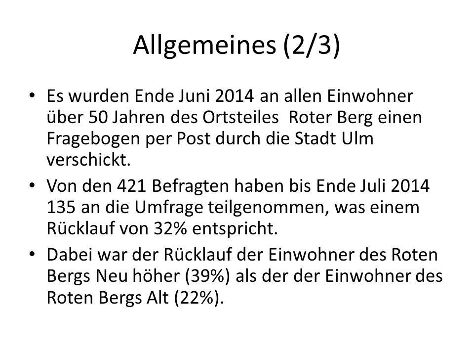 Allgemeines (2/3) Es wurden Ende Juni 2014 an allen Einwohner über 50 Jahren des Ortsteiles Roter Berg einen Fragebogen per Post durch die Stadt Ulm verschickt.
