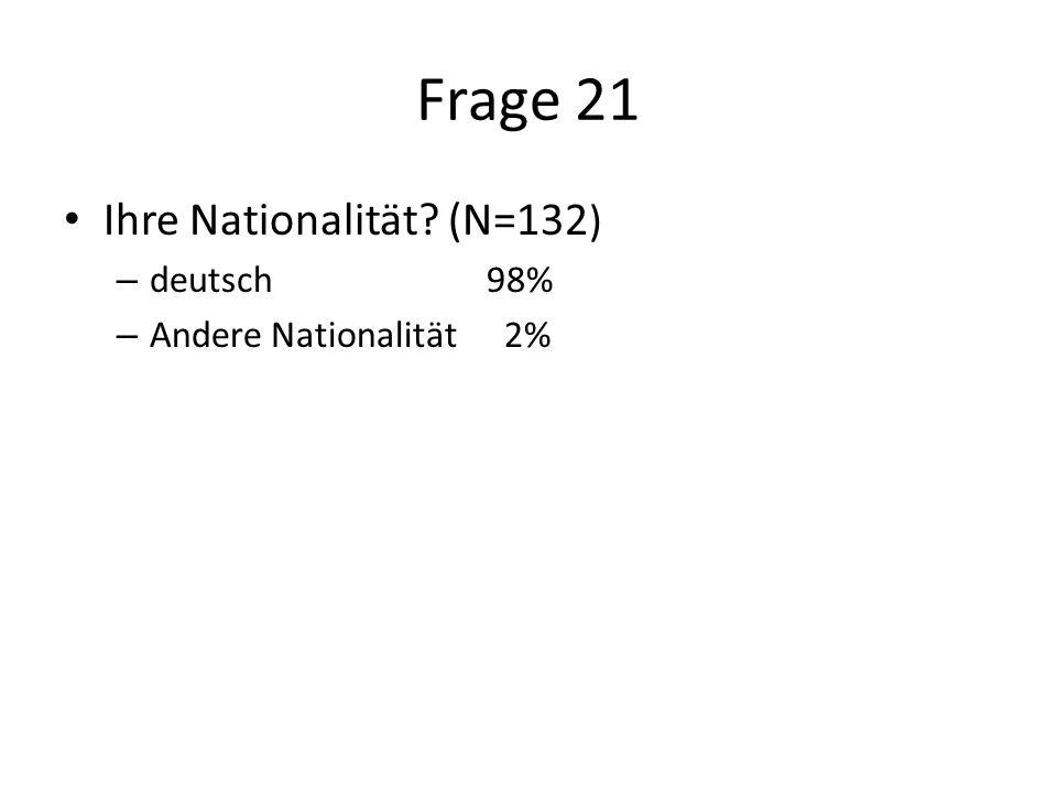 Frage 21 Ihre Nationalität (N=132 ) – deutsch98% – Andere Nationalität 2%