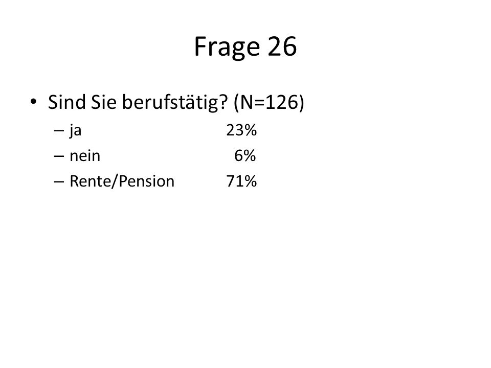 Frage 26 Sind Sie berufstätig (N=126 ) – ja23% – nein 6% – Rente/Pension71%