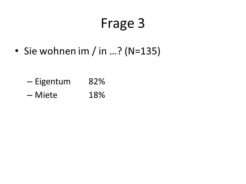 Frage 3 Sie wohnen im / in … (N=135) – Eigentum82% – Miete18%