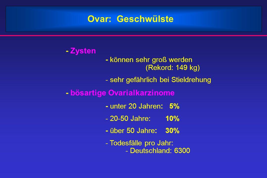 - Zysten - können sehr groß werden (Rekord: 149 kg) - sehr gefährlich bei Stieldrehung - bösartige Ovarialkarzinome - unter 20 Jahren: 5% - 20-50 Jahre: 10% - über 50 Jahre: 30% - Todesfälle pro Jahr: - Deutschland: 6300 Ovar: Geschwülste
