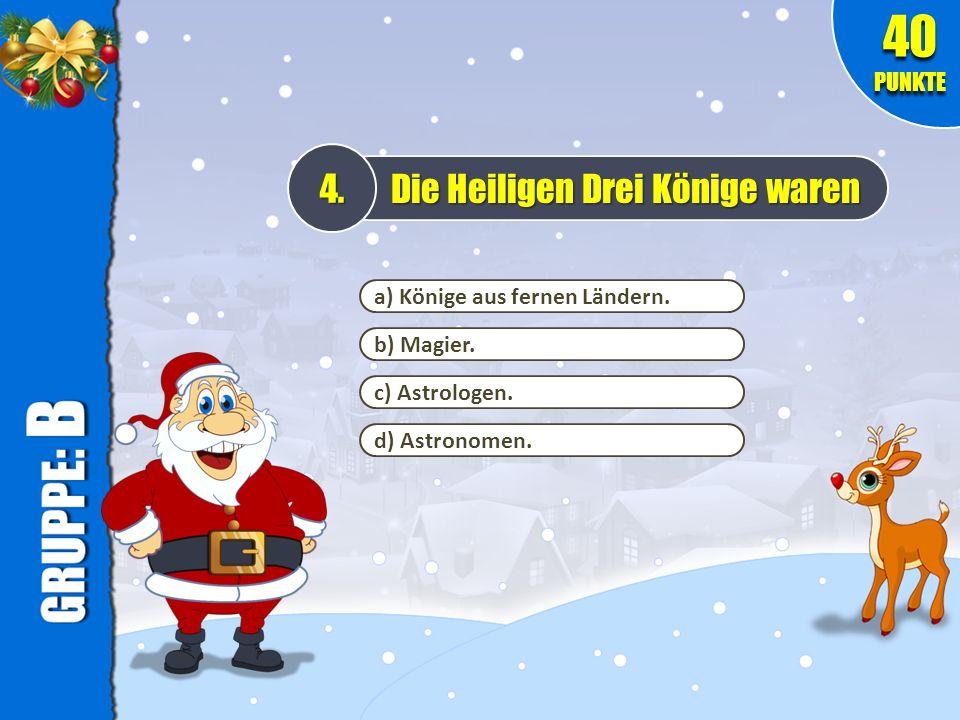 a) Weil es die Farben eines Bischofs sind.5. Warum trägt der Weihnachtsmann ein rot-weißes Kostüm.