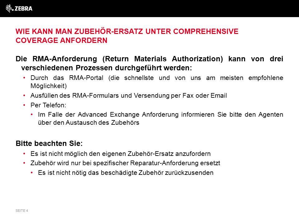 WIE KANN MAN ZUBEHÖR-ERSATZ UNTER COMPREHENSIVE COVERAGE ANFORDERN Die RMA-Anforderung (Return Materials Authorization) kann von drei verschiedenen Pr