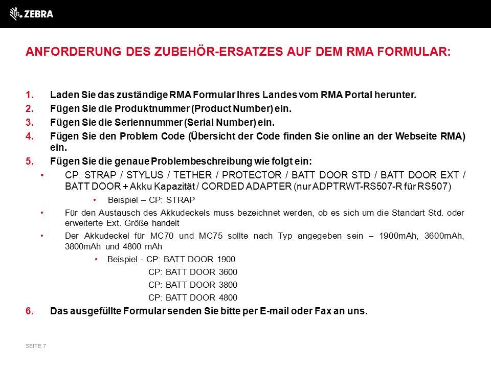 EIN BEISPIEL DER ANFORDERUNG DES ZUBEHÖR-ERSATZES AUF DEM RMA FORMULAR: SEITE 8