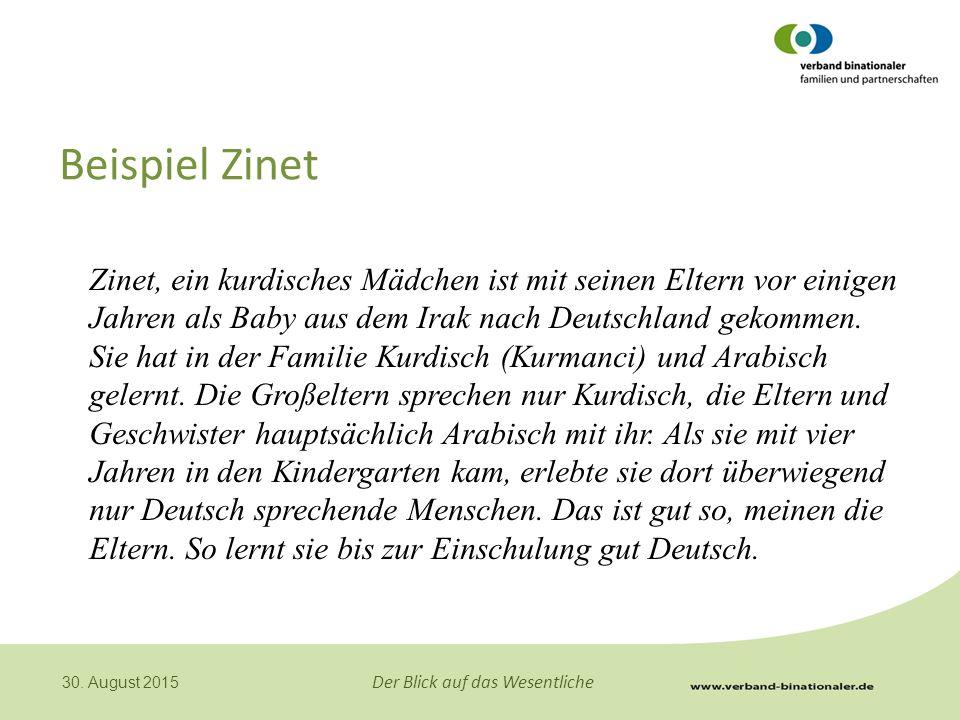 Der Blick auf das Wesentliche 30. August 2015 Beispiel Zinet Zinet, ein kurdisches Mädchen ist mit seinen Eltern vor einigen Jahren als Baby aus dem I