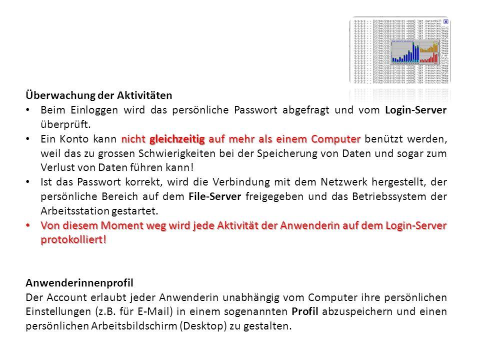 Überwachung der Aktivitäten Beim Einloggen wird das persönliche Passwort abgefragt und vom Login-Server überprüft.