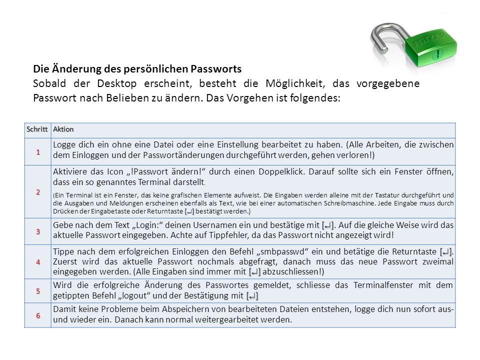 Die Änderung des persönlichen Passworts Sobald der Desktop erscheint, besteht die Möglichkeit, das vorgegebene Passwort nach Belieben zu ändern.