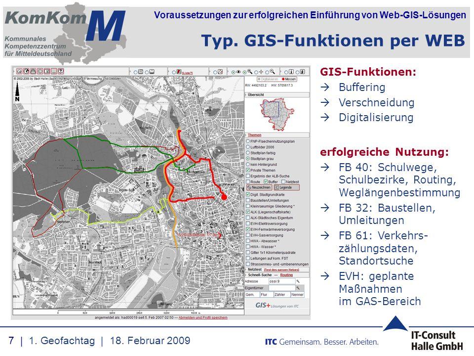 Voraussetzungen zur erfolgreichen Einführung von Web-GIS-Lösungen GIS-Funktionen:  Buffering  Verschneidung  Digitalisierung erfolgreiche Nutzung: