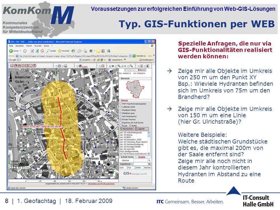 Voraussetzungen zur erfolgreichen Einführung von Web-GIS-Lösungen Spezielle Anfragen, die nur via GIS-Funktionalitäten realisiert werden können:  Zei