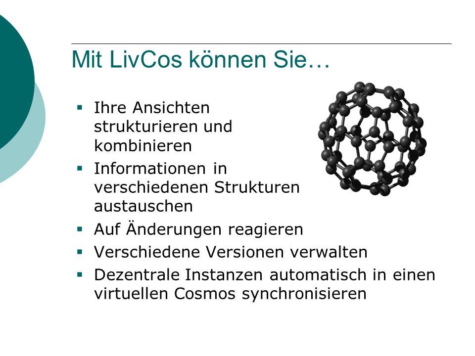 Mit LivCos können Sie…  Ihre Ansichten strukturieren und kombinieren  Informationen in verschiedenen Strukturen austauschen  Auf Änderungen reagieren  Verschiedene Versionen verwalten  Dezentrale Instanzen automatisch in einen virtuellen Cosmos synchronisieren
