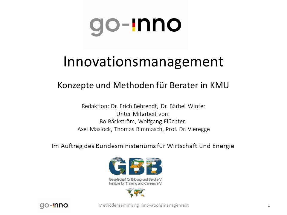 Innovationsmanagement Konzepte und Methoden für Berater in KMU Redaktion: Dr. Erich Behrendt, Dr. Bärbel Winter Unter Mitarbeit von: Bo Bäckström, Wol
