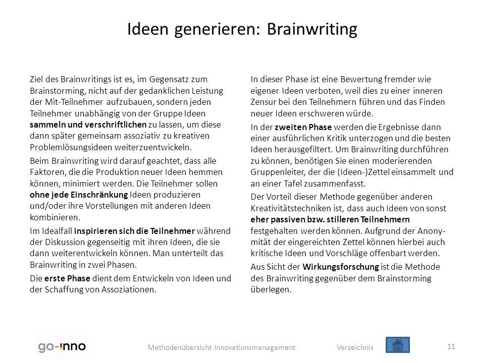 Methodenübersicht Innovationsmanagement Verzeichnis Ideen generieren: Brainwriting Ziel des Brainwritings ist es, im Gegensatz zum Brainstorming, nich