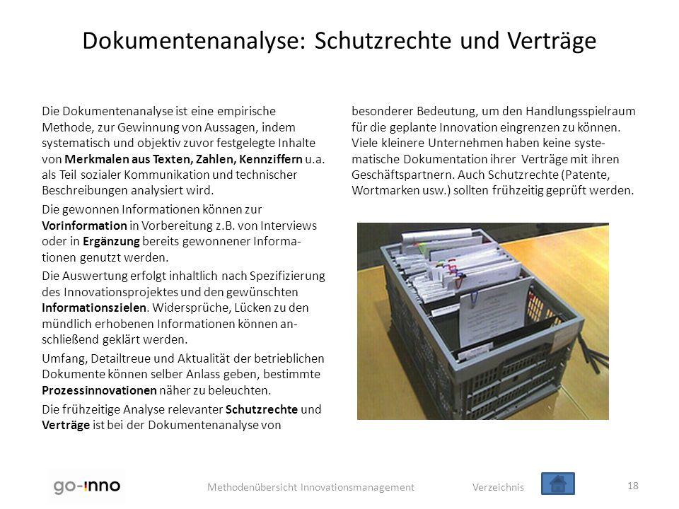 Methodenübersicht Innovationsmanagement Verzeichnis Dokumentenanalyse: Schutzrechte und Verträge Die Dokumentenanalyse ist eine empirische Methode, zu