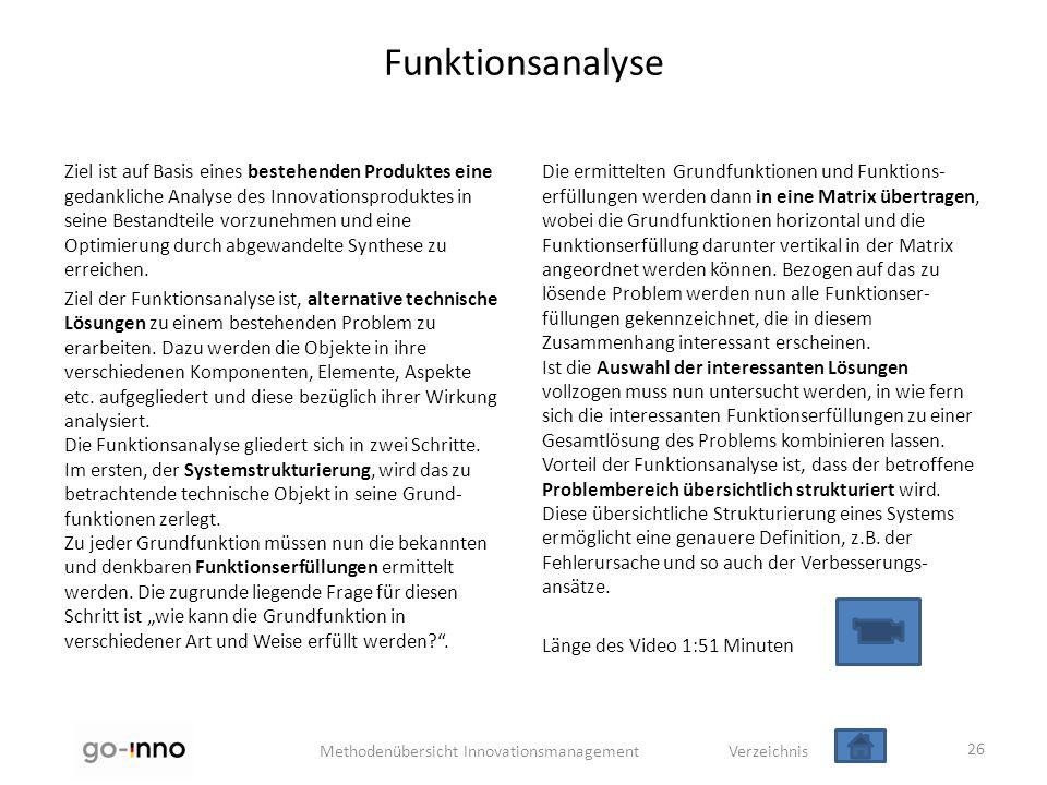 Methodenübersicht Innovationsmanagement Verzeichnis Funktionsanalyse Ziel ist auf Basis eines bestehenden Produktes eine gedankliche Analyse des Innov