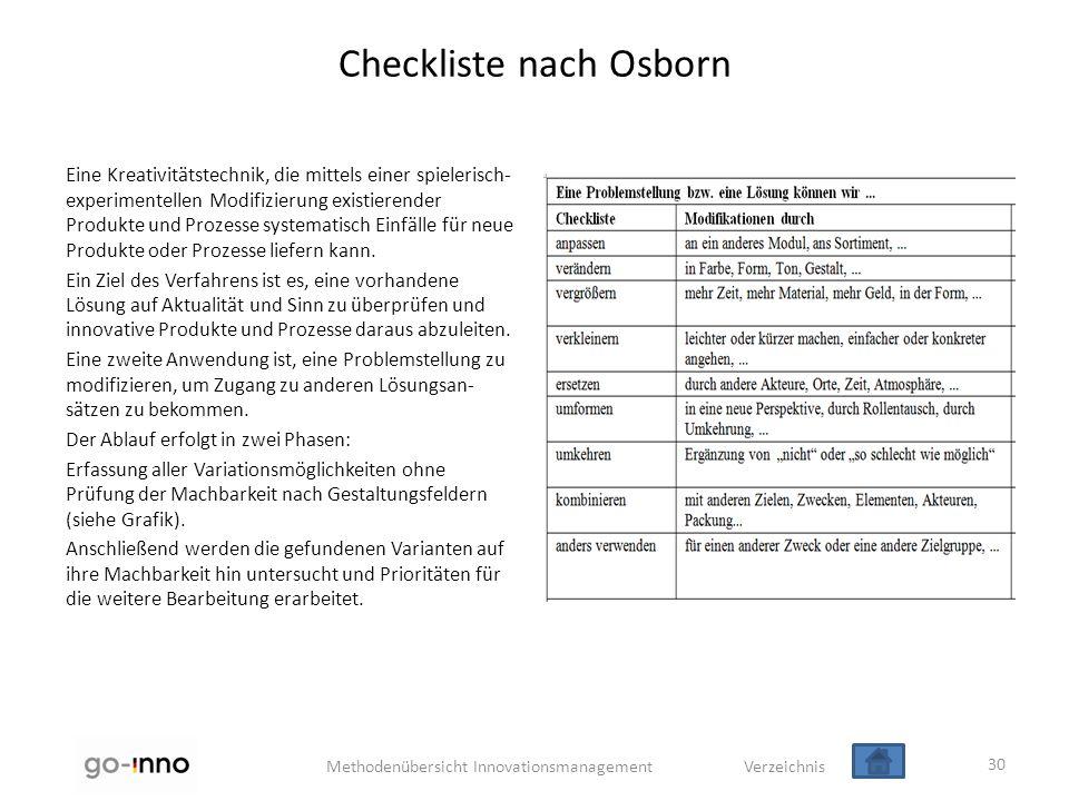 Methodenübersicht Innovationsmanagement Verzeichnis Checkliste nach Osborn Eine Kreativitätstechnik, die mittels einer spielerisch- experimentellen Mo