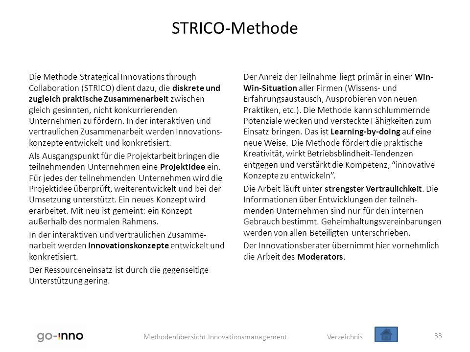 Methodenübersicht Innovationsmanagement Verzeichnis STRICO-Methode Die Methode Strategical Innovations through Collaboration (STRICO) dient dazu, die