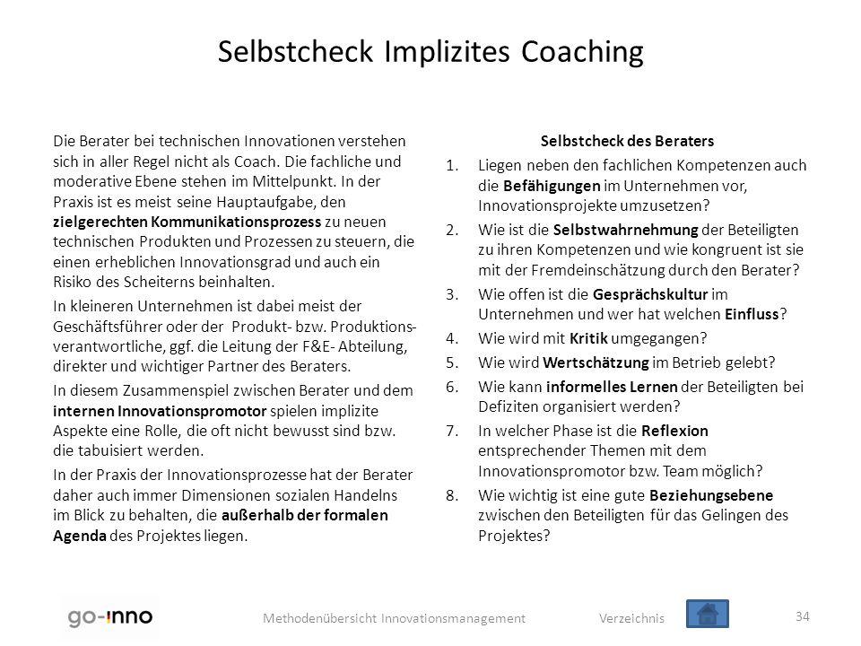 Methodenübersicht Innovationsmanagement Verzeichnis Selbstcheck Implizites Coaching Die Berater bei technischen Innovationen verstehen sich in aller R
